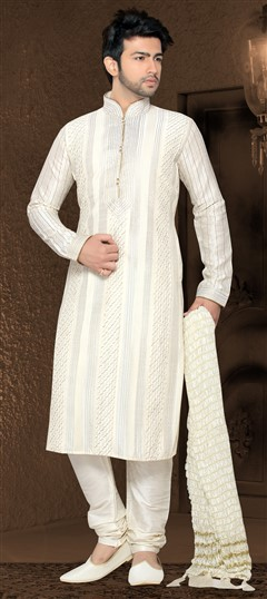 13984 White and Off White  color family Kurta Pyjamas in Art Silk fabric with Border,Patch work .