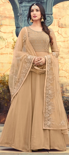 1500165: Beige and Brown color Salwar Kameez in Georgette fabric with Machine Embroidery, Stone, Thread, Zari work