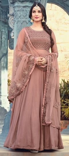 1500178: Beige and Brown color Salwar Kameez in Georgette fabric with Machine Embroidery, Resham, Sequence, Stone, Thread work