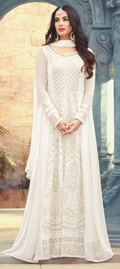 1500179: White and Off White color Salwar Kameez in Georgette fabric with Machine Embroidery, Moti, Resham, Sequence, Thread work