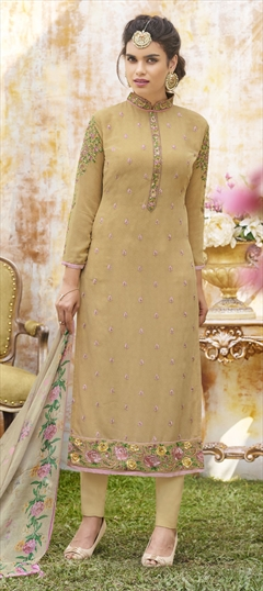 1500363: Beige and Brown color Salwar Kameez in Georgette fabric with Machine Embroidery, Resham, Stone, Thread work