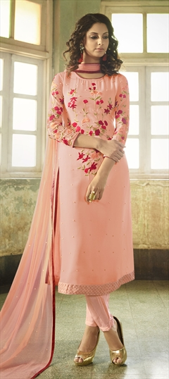 1501076: Pink and Majenta color Salwar Kameez in Georgette fabric with Machine Embroidery, Moti, Resham, Thread work