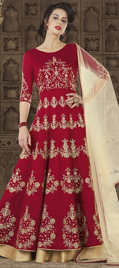 1501160: Red and Maroon color Salwar Kameez in Raw Silk fabric with Sequence, Stone work