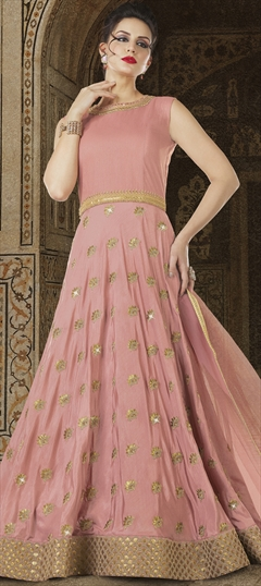 1501162: Pink and Majenta color Salwar Kameez in Satin Silk fabric with Sequence, Stone, Thread, Zardozi, Zari work