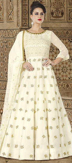 1501164: Beige and Brown color Salwar Kameez in Satin Silk fabric with Machine Embroidery, Sequence, Stone, Thread, Zari work