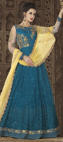 1501167: Blue color Salwar Kameez in Net fabric with Machine Embroidery, Resham, Stone, Thread, Zardozi work