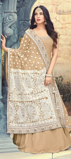 1501856: Beige and Brown color Salwar Kameez in Georgette fabric with Machine Embroidery, Resham, Stone, Thread work