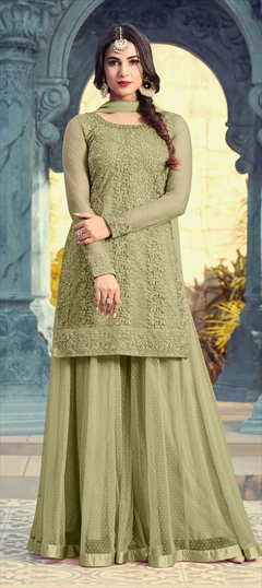 1501861: Green color Salwar Kameez in Net fabric with Machine Embroidery, Resham, Sequence, Stone, Thread work