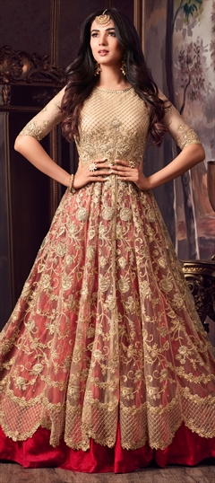 1502112: Bollywood, Wedding Beige and Brown color Salwar Kameez in Net fabric with Abaya, Anarkali Embroidered, Sequence, Thread, Zari work