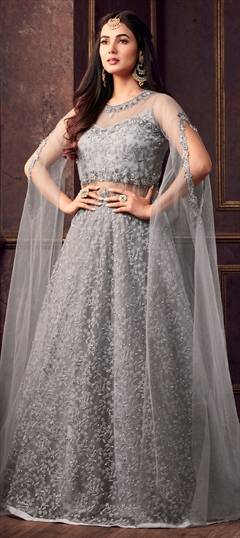 1502113: Black and Grey color Salwar Kameez in Net fabric with Machine Embroidery, Moti, Resham, Thread work
