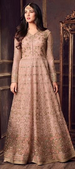 1502116: Pink and Majenta color Salwar Kameez in Net fabric with Machine Embroidery, Resham, Stone, Thread work