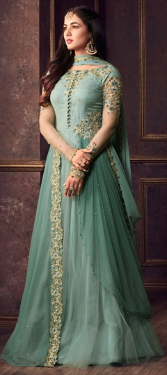 1502117: Green color Salwar Kameez in Net fabric with Machine Embroidery, Sequence, Thread, Zari work