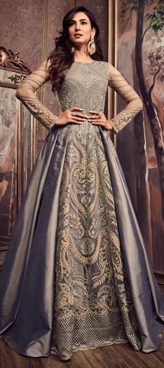 1502118: Bollywood, Wedding Black and Grey color Salwar Kameez in Silk fabric with Abaya, Anarkali Embroidered, Resham, Thread, Zari work