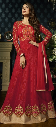 1504166: Red and Maroon color Salwar Kameez in Faux Georgette fabric with Embroidered, Resham, Stone, Thread, Zari work