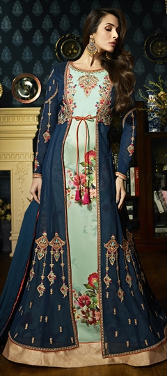 1504169: Blue color Salwar Kameez in Faux Georgette fabric with Embroidered, Resham, Stone, Thread, Zari work