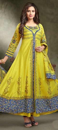1507808: Festive, Party Wear Yellow color Salwar Kameez in Chanderi Silk fabric with Anarkali, Slits Printed work
