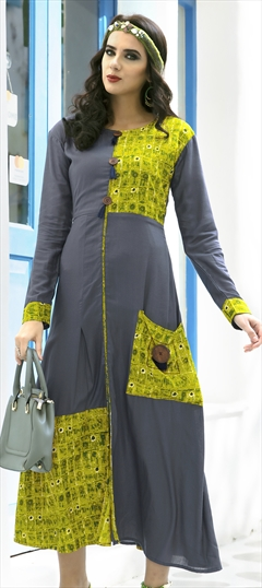 1508270: Casual Beige and Brown, Green color Kurti in Rayon fabric with  Printed work