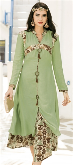 1508271: Casual Green color Kurti in Rayon fabric with  Printed work