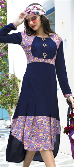 1508272: Casual Blue color Kurti in Rayon fabric with  Printed work