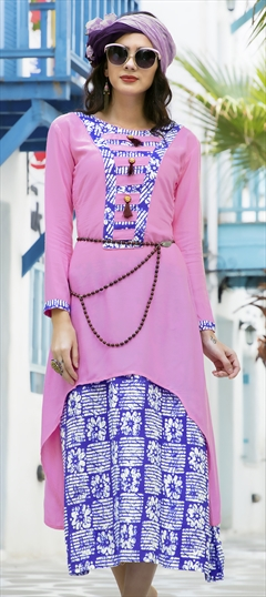 1508273: Casual Blue, Pink and Majenta color Kurti in Rayon fabric with  Printed work