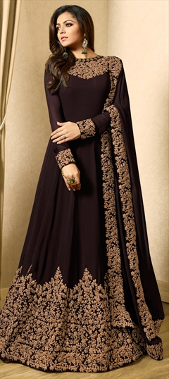 1508726: Bollywood Beige and Brown color Salwar Kameez in Georgette fabric with Abaya, Anarkali Embroidered, Thread, Zari work