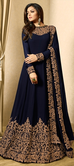 1508728: Bollywood Blue color Salwar Kameez in Georgette fabric with Abaya, Anarkali Embroidered, Thread, Zari work