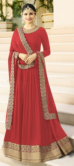 1511444: Bollywood Red and Maroon color Salwar Kameez in Georgette fabric with Abaya, Anarkali Bugle Beads, Embroidered, Lace, Thread, Zari work