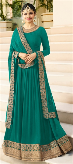 1511446: Bollywood Green color Salwar Kameez in Georgette fabric with Abaya, Anarkali Bugle Beads, Embroidered, Lace, Thread, Zari work