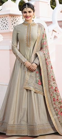 1511450: Bollywood Beige and Brown color Salwar Kameez in Silk fabric with Abaya, Anarkali Embroidered, Stone, Thread, Zari work