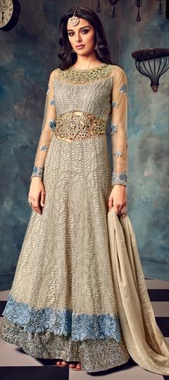 1514324: Bollywood Beige and Brown color Salwar Kameez in Net fabric with Abaya, Anarkali Embroidered, Resham, Stone, Thread, Zari work