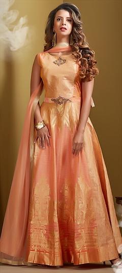 1514477: Wedding Pink and Majenta color Salwar Kameez in Chanderi Silk fabric with Abaya, Anarkali Patch, Thread work