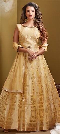 1514478: Wedding Yellow color Salwar Kameez in Chanderi Silk fabric with Abaya, Anarkali Patch, Thread work