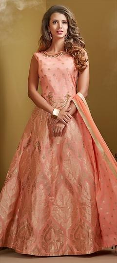 1514479: Wedding Pink and Majenta color Salwar Kameez in Chanderi Silk fabric with Abaya, Anarkali Patch, Thread work