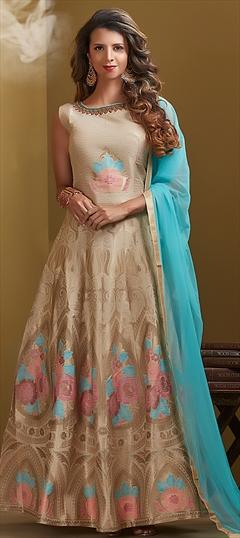 1514480: Wedding Beige and Brown color Salwar Kameez in Chanderi Silk fabric with Abaya, Anarkali Bugle Beads, Thread work