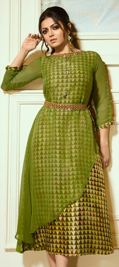 1516433: Casual Green color Kurti in Faux Georgette fabric with Printed, Thread, Zari work