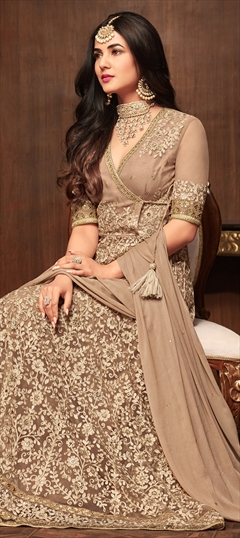 1518326: Bollywood Beige and Brown color Salwar Kameez in Net fabric with Anarkali Embroidered, Resham, Stone, Thread work