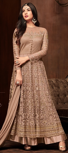 1518335: Bollywood Beige and Brown color Salwar Kameez in Net fabric with Straight Embroidered, Resham, Stone, Thread work