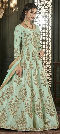 1518404: Party Wear Green color Salwar Kameez in Silk fabric with Abaya, Anarkali Embroidered, Thread, Zari work