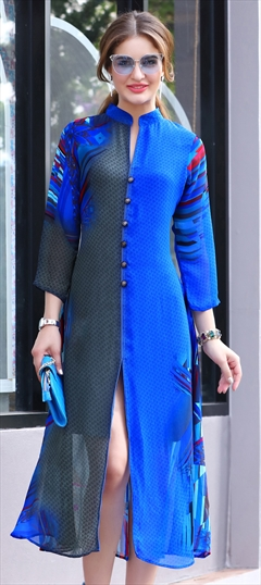 1525583: Designer Black and Grey, Blue color Kurti in Georgette fabric with Printed work
