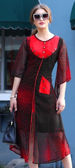 1525586: Casual, Designer Black and Grey, Red and Maroon color Kurti in Georgette fabric with Printed work
