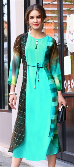 1525589: Casual, Designer Black and Grey, Blue color Kurti in Georgette fabric with Printed work