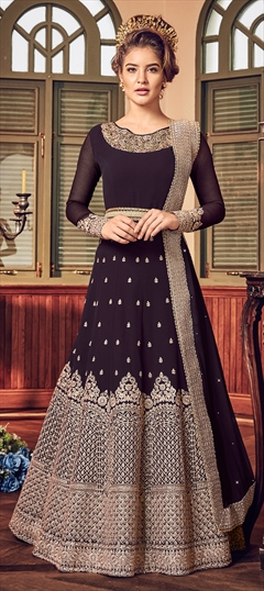 1526031: Wedding Purple and Violet color Salwar Kameez in Georgette fabric with Abaya, Anarkali Embroidered, Stone, Thread, Zari work