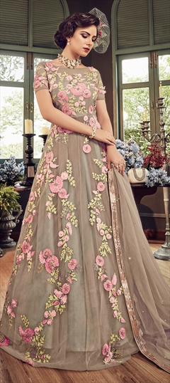 1526035: Wedding Beige and Brown color Salwar Kameez in Net fabric with Abaya Embroidered, Resham, Thread work