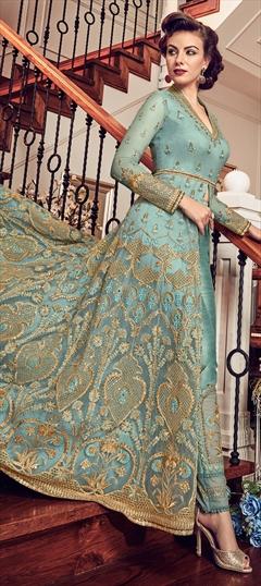 1526037: Wedding Blue color Salwar Kameez in Net fabric with Slits Embroidered, Resham, Thread, Zari work