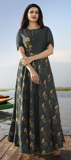 1529374: Casual Black and Grey color Kurti in Georgette, Satin Silk fabric with Floral, Patch, Printed, Stone work