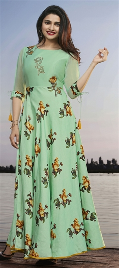 1529376: Casual Green color Kurti in Georgette, Satin Silk fabric with Floral, Patch, Printed, Stone work