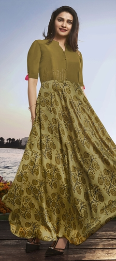1529385: Casual Green color Kurti in Georgette, Satin Silk fabric with Patch, Printed, Stone work
