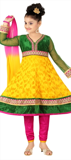 202459 Yellow  color family Kids Salwar in Jacquard fabric with Lace, Machine Embroidery, Resham, Thread work .