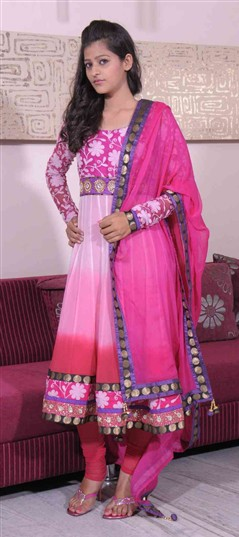 400949, Anarkali Suits, Georgette, Thread, Pink and Majenta Color Family