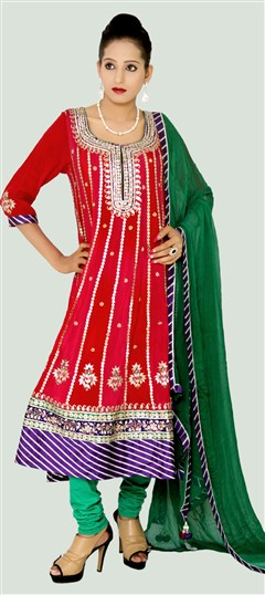 400951, Anarkali Suits, Crepe, Gota Patti, Red and Maroon Color Family